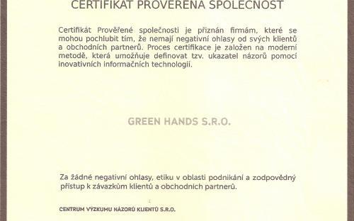 Prověřená firma certifikát